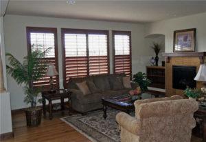 Brown Shutters in Living Room