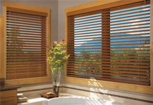 Brown Blinds in Bathroom
