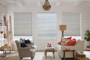 White Shades in Living Room
